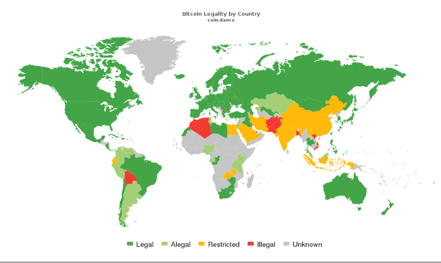 Bitcoin Legality By Country (world map)   Crypto is Coming